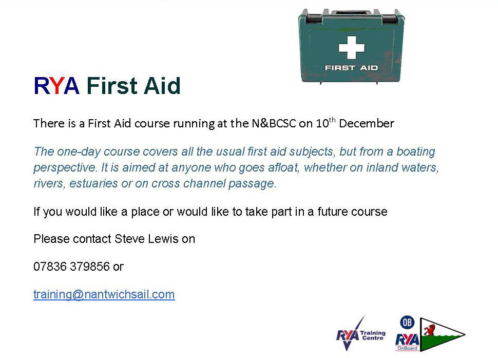 First Aid course running at the club on 10th December